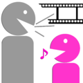 Illustration of a gray smiley in profile talking to a smaller, bright pink smiley in profile (with a musical note coming from its mouth to suggest her or his positive mood and the tone of his or her responses.