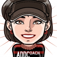 Caricature of Madelyn with a visor, pearls, earrings, and a striped t-shirt with an ADDCoach logo