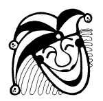 Illustration of a jester mask of the kind used on playing cards for the Joker