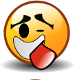 Laughing smiley graphic with tongue hanging out
