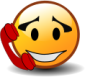"graphic of a ""smiley"" snugged up to a red phone receiver"