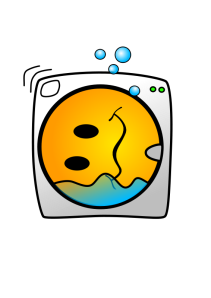 A drawing of a smiley in a washing machine