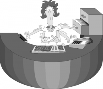 Graphic of a woman multi-tasking at round desk, fingers flying on keyboards, file cabinet drawer open as she files in backgriound