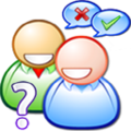 Drawing of two smiling figures standing behind a question mark; thought bubbles over their heads: a red X, and a green checkmark
