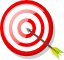 Archery target with arrow in center of bullseye