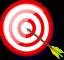 Archery target with arrow in center of bullseye