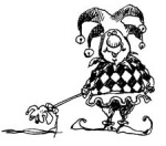 Cartoon drawing of a goofy court jester (pointy hat with bells, shoes with curly toes, harlequin shirt and a wand)