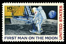 """Color reproduction of a 10 cent stamp """"First Man on the Moon"""", drawing of Armstrong stepping our of the capsule, with earyth in background"""
