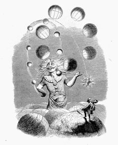 A small man in the foreground watches fearfully while a larger one in the background juggles planets, both in the clouds, surrounded by worlds.