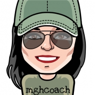 "cartoon drawing of woman in coach hat, sunglasses and t-shirt with ""mghcoach"" on it"