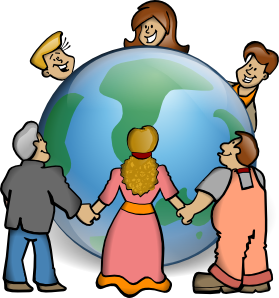 Drawing of a globe encircled by various kinds of people holding hands