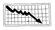 Graphic of a grid on which an arrow traces downward progress