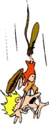 Cartoon of a screaming person falling, dangling by one leg to a tie rope.