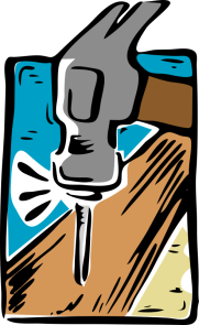 Drawing of a hammer driving a nail into a board.