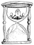 "Drawing of a man ""stuck"" in the top half of an hourglass, while the sands filter past him to below."