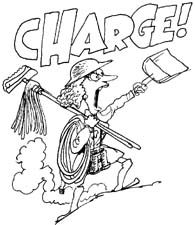 Line drawing of a woman advancing up a hill wearing a hard hat, mops & brooms over one shoulder, dustpan in hand, arm raise; over her head, in outlined letters, it says CHARGE!