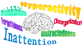 Brain graphic surrounded by the following terms in various colors: disinhibition, hyperactivity, forgetfulness, inattention, distractedness, disorganization